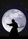 Samurai in the moonlight Stock Photography