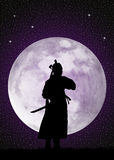 Samurai in the moonlight. Illustration of Samurai in the moonlight Stock Photos