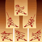 Samurai Ninja Karate Katana Sport Ink Set People Silhouette Stock Photos