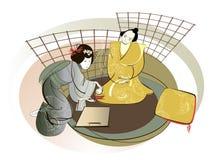 Samurai och geisha Arkivfoton