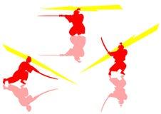 3 samurai pauses. 3 samurais pauses of cutting Royalty Free Stock Photo