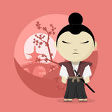 Samurai. Picture of a cartoon samurai, flat style illustration Stock Photo