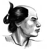 Samurai portrait. Samurai warrior. Ink black and white illustration stock illustration