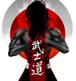 Samurai pose. Bushido - Japanese word for the way of the samurai life Royalty Free Stock Photos