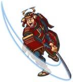 Samurai que reduce drásticamente el clip Art Illustration del vector Fotografía de archivo libre de regalías