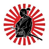 Samurai ready to fight action graphic vector. Samurai ready to fight action illustration graphic vector Royalty Free Illustration