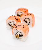 Samurai rolls. On white plate Stock Image