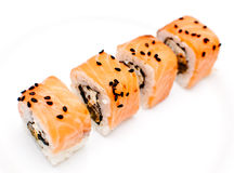 Samurai rolls. On white Royalty Free Stock Photo