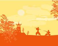 Samurai silhouette in Asian Landscape vector illustration