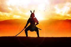 Samurai. Silhouette illustration of a samurai general Stock Photos