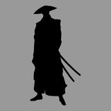 Samurai silhouette. Vector warrior sword ninja japan Stock Images