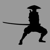 Samurai silhouette. Vector warrior sword ninja japan Royalty Free Stock Image