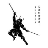 Samurai silhouette. Warrior and sword, fight ancient, vector illustration Royalty Free Stock Images