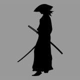 Samurai silhouette. Warrior sword ninja japan Royalty Free Stock Image