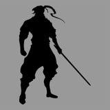 Samurai silhouette. Warrior sword ninja japan Stock Image