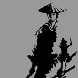 Samurai silhouette Stock Photography