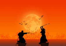 Samurai Silhouettes. Fighting at the Sunset Stock Images
