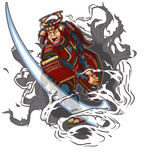 Samurai Slashing Through Background Vector Illustration Stock Photo