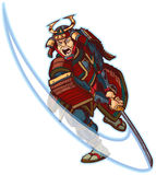 Samurai Slashing Vector Clip Art Illustration Royalty Free Stock Photography