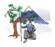 Samurai with spear Royalty Free Stock Images