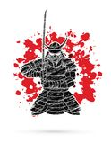 Samurai standing front view ready to fight graphic vector. Samurai standing front view ready to fight illustration graphic vector Royalty Free Stock Images