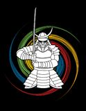 Samurai standing front view ready to fight graphic vector. Samurai standing front view ready to fight illustration graphic vector Royalty Free Stock Photos