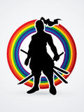 Samurai. Standing ready to fight designed on line rainbows background graphic vector Royalty Free Stock Photo