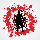 Samurai. Standing ready to fight designed on splatter blood background graphic vector Royalty Free Stock Photos