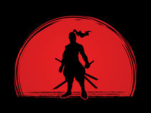 Samurai. Standing ready to fight designed on sunlight background graphic vector Stock Photography