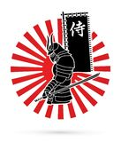 Samurai standing with sword and flag samurai Japanese text graphic vector Stock Photography