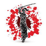 Samurai standing with sword katana, Ready to fight. Graphic vector Royalty Free Stock Photography