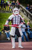 Samurai stormtrooper cosplay Royalty Free Stock Images