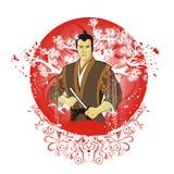Samurai sul sole della priorità bassa Immagini Stock
