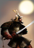 The samurai and the sun. A very armored samurai with a katana on his hand Stock Photos