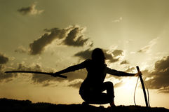 Samurai on sundown. Real Japanese samurai the woman trains on sundown Stock Photography