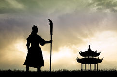 Samurai at sunset. Illustration of samurai at sunset Royalty Free Stock Photos