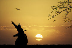 Samurai at sunset Royalty Free Stock Images