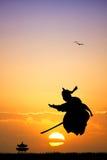 Samurai at sunset Royalty Free Stock Photography
