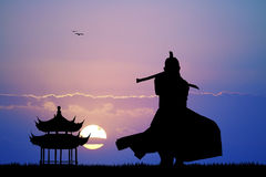 Samurai at sunset. Illustration of Samurai at sunset Royalty Free Stock Photography