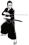 Samurai with the sword Stock Images