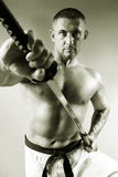Samurai with a sword Stock Photography