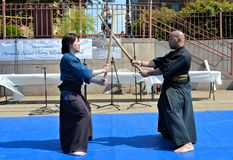 Samurai Sword Demonstration Royalty Free Stock Image
