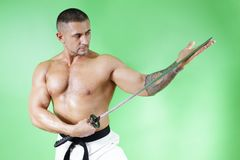 Samurai. Sword in hand and shirtless Royalty Free Stock Photography