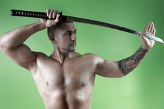 Samurai. Sword in hand and shirtless Royalty Free Stock Image