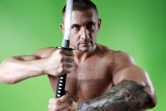 Samurai. Sword in hand and shirtless Stock Image