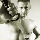 Samurai with a sword Royalty Free Stock Photos