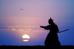 Samurai with sword. Illustration of samurai at sunset Royalty Free Stock Photography