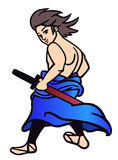Samurai with sword. Japanese young samurai with sword illustration Royalty Free Illustration