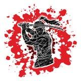 Samurai with sword katana, Sword man ready to fight. Graphic vector Royalty Free Stock Photo