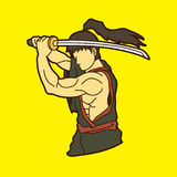Samurai with sword katana, Sword man ready to fight. Graphic vector Royalty Free Stock Image